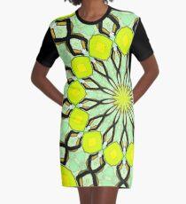 Yellow Kaleidoscope Graphic T-Shirt Dress
