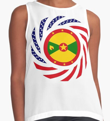 Grenadian American Multinational Patriot Flag Series Sleeveless Top