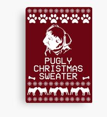 Pugly Christmas Sweater (White) Canvas Print