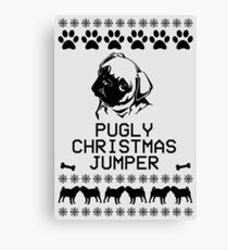 Pugly Christmas Jumper (Black) Canvas Print