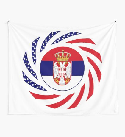 Serbian American Multinational Patriot Flag Series Wall Tapestry