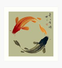 Black and Orange Koi Circle Art Print