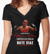 Nate Diaz Women's Fitted V-Neck T-Shirt