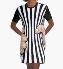 Big Hand Squeezing Referee Style Stripes Graphic T-Shirt Dress