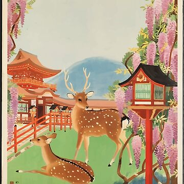 Vintage Travel Japan Deer Poster by SuperPayce