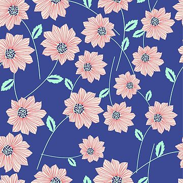 Seamless Blue Floral Pattern by SuperPayce