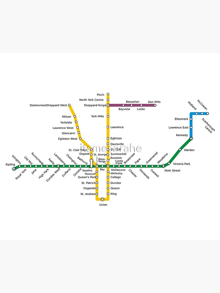 Toronto Subway Map Print.Toronto Subway Canvas Print