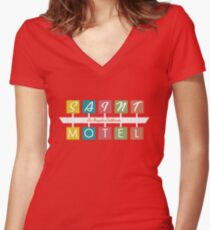 Retro Motel Sign Women's Fitted V-Neck T-Shirt