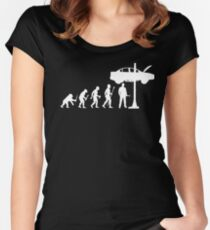 Evolution Of Man and Mechanic Funny Shirt Women's Fitted Scoop T-Shirt