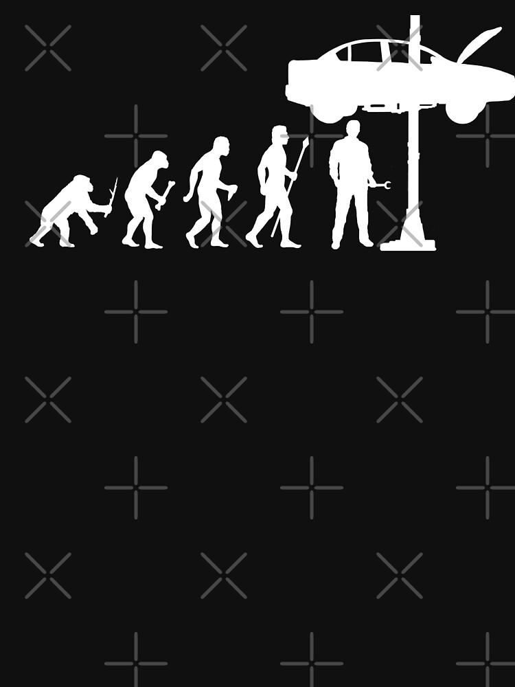 Evolución del hombre y camisa divertida del mecánico de BeyondEvolved