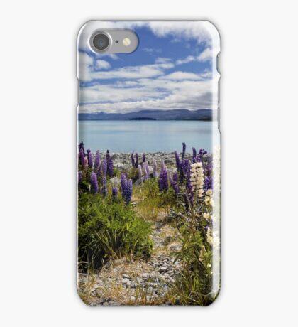 Pathway to lake Tekapo iPhone Case/Skin