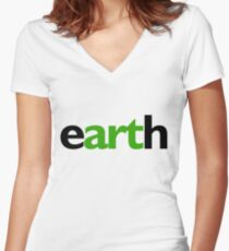 earth Fitted V-Neck T-Shirt