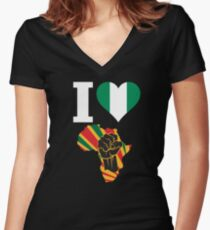 I Love Africa Map Black Power Nigeria Flag T-Shirt Women's Fitted V-Neck T-Shirt