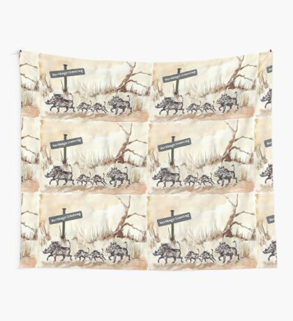 Warthogs Crossing Wall Tapestry