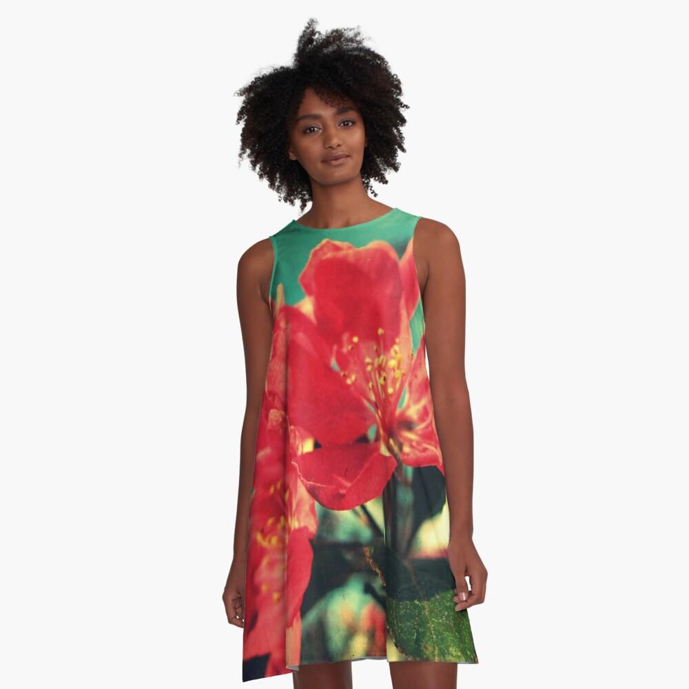 Retro Blossom A-Line Dress Front