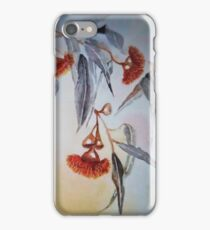 Ruby Red Gum Blossoms amongst the Black and White. iPhone Case/Skin