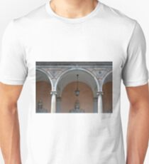 Classical colonade detail with ionic columns and decorative arches. T-Shirt