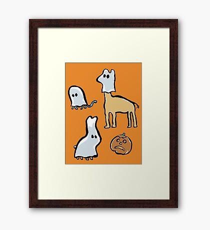ghost animals and a pumpkin Framed Print