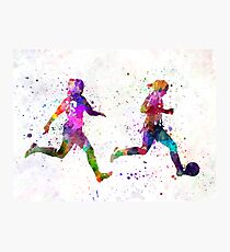 Girls playing soccer football player silhouette Photographic Print