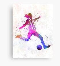 Lienzo metálico Chica jugando fútbol futbolista silueta
