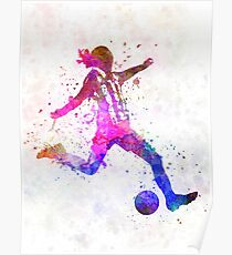 Girl playing soccer football player silhouette Poster