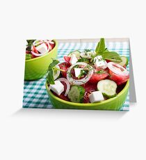 Useful vegetarian salad with raw tomatoes, cucumbers and onions Greeting Card