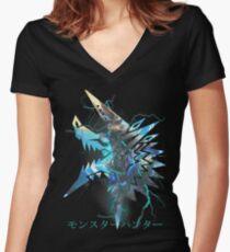 Monster Hunter - Zinogre  Women's Fitted V-Neck T-Shirt