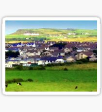 Landscape | Irish Town on Hill | Pop Art | Country | Rural | Ireland Sticker