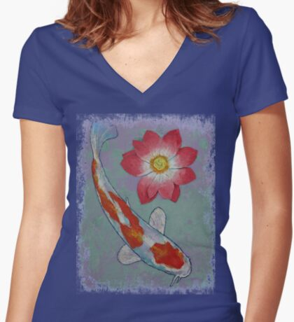 Koi and Lotus Women's Fitted V-Neck T-Shirt