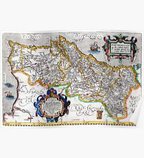 Ancient map of the Kingdom of Portugal - Ortelius Map of Portugal Poster
