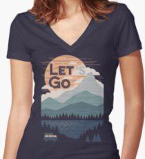 Let's Go Women's Fitted V-Neck T-Shirt
