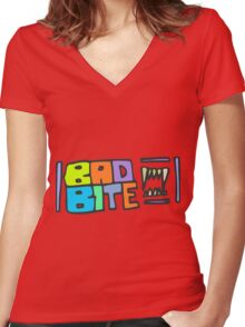 Zef - Bad Bite Women's Fitted V-Neck T-Shirt