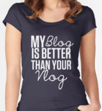 """My Blog is Better than your Vlog""  Lux Series Inspired Design Women's Fitted Scoop T-Shirt"