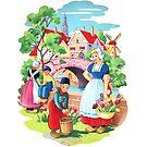 Vintage Dutch Girls & Boys Retro Holland Windmill Illustration by vintagegoodness