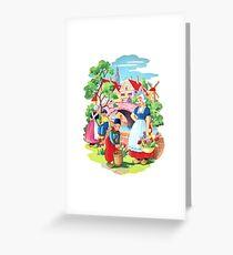 Vintage Dutch Girls & Boys Retro Holland Windmill Illustration Greeting Card
