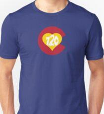 Hand Drawn Colorado Heart Flag 720 Area Code Unisex T-Shirt