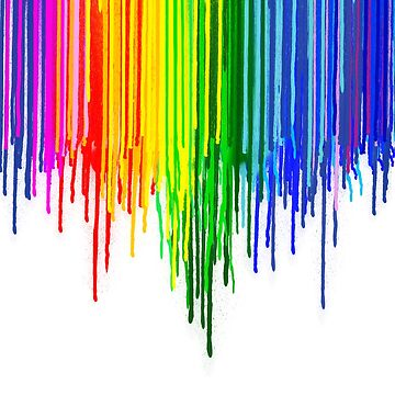 Rainbow Paint Drops on White by homedeco