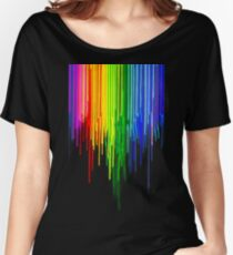 Rainbow Paint Drops on Black Women's Relaxed Fit T-Shirt