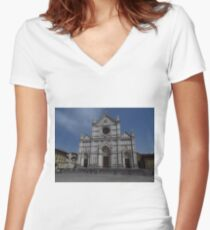 Santa Croce. Neo-Gothic Facade Women's Fitted V-Neck T-Shirt