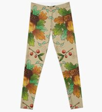Autumn Robin Pattern Leggings