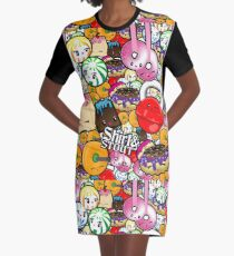 Kawaii Fitness Graphic T-Shirt Dress