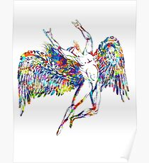ICARUS THROWS THE HORNS - paint splotches  ***FAV ICARUS GONE? SEE BELOW*** Poster