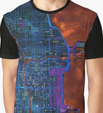 Chicago city center dark watercolor map Graphic T-Shirt