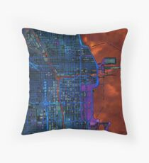 Chicago city center dark watercolor map Throw Pillow