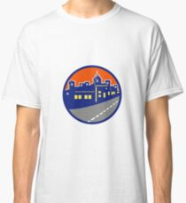 Buildings Street Cityscape Circle Retro Classic T-Shirt