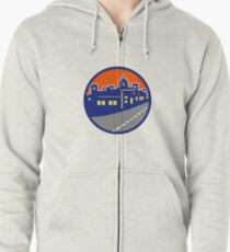 Buildings Street Cityscape Circle Retro Zipped Hoodie