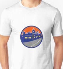 Buildings Street Cityscape Circle Retro Unisex T-Shirt
