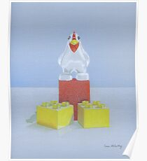 Duplo Chicken (red/blue) Poster