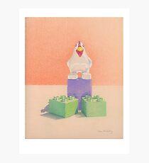 Duplo Chicken (orange/purple) Photographic Print
