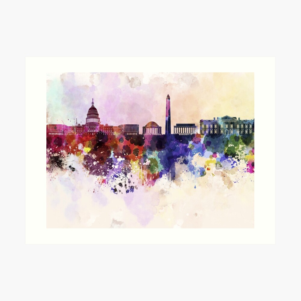 Washington DC-Skyline im Aquarellhintergrund Kunstdruck